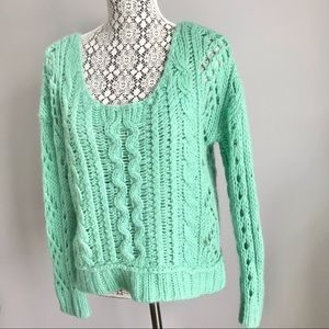 Free People wool blend chunky knit sweater green S
